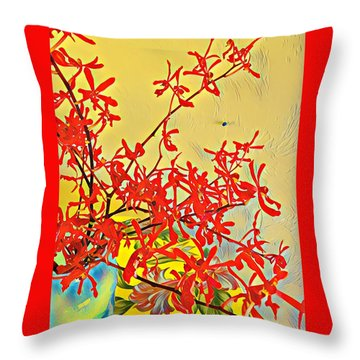 Aloha Bouquet Of The Day -- Red Orchids In Blue Vse Throw Pillow