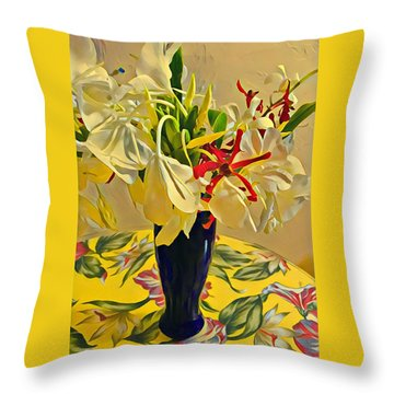 Aloha Bouquet Of The Day - White Gingert With Red Orchids - A New Hue Throw Pillow