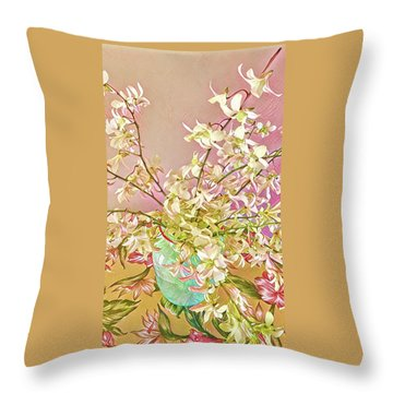 Aloha Bouquet Of The Day - White Orchids In Pink Throw Pillow