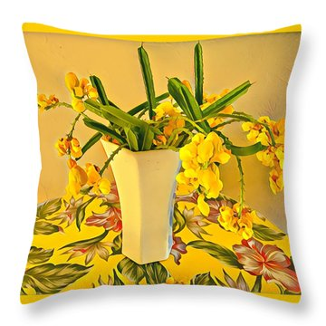 Aloha Bouquet Of The Day - Yellow Wild Flowers Throw Pillow