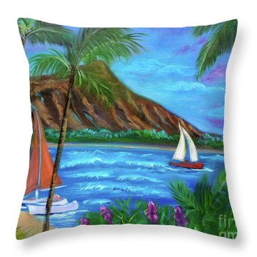 Aloha Diamond Head Throw Pillow