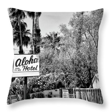 Aloha Hotel Bw Palm Springs Throw Pillow by William Dey
