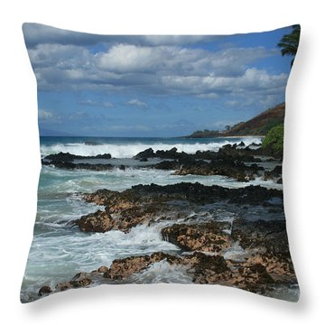 Aloha Island Dreams Paako Beach Makena Secret Cove Hawaii Throw Pillow