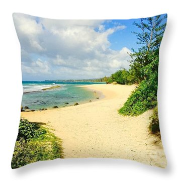 Baby Beach Throw Pillow by Sharon Mau