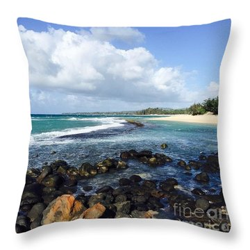 Kapukaulua Baby Beach Throw Pillow by Sharon Mau