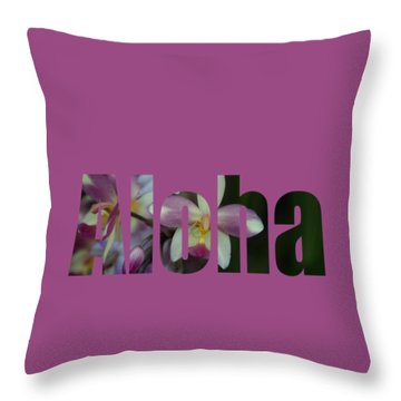 Throw Pillow featuring the photograph Aloha Orchids Type by Kerri Ligatich