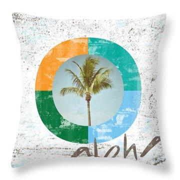 Aloha Palm Tree Throw Pillow