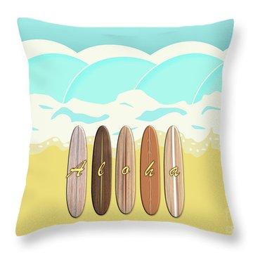 Aloha Surf Wave Beach Throw Pillow
