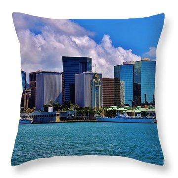 Aloha Tower Downtown Throw Pillow