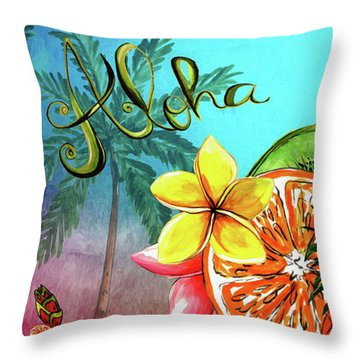 Throw Pillow featuring the digital art Aloha Tropical Fruits By Kaye Menner by Kaye Menner
