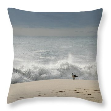 Alone - Jersey Shore Throw Pillow by Angie Tirado