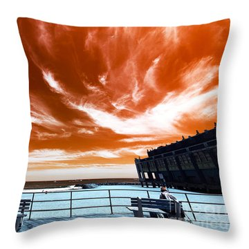 Throw Pillow featuring the photograph Alone In Asbury Park Pop Art by John Rizzuto
