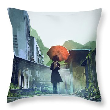 Alone In The Abandoned Town Throw Pillow
