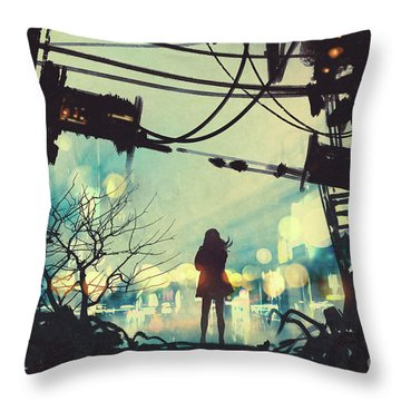 Alone In The Abandoned Town#2 Throw Pillow