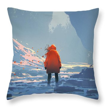 Alone In Winter Throw Pillow