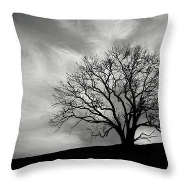 Alone On A Hill In Black And White Throw Pillow