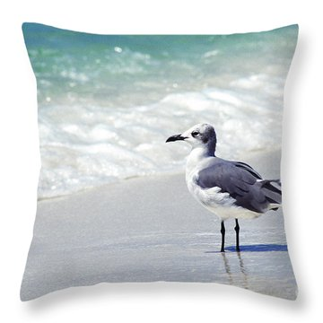 Alone On The Beach Throw Pillow by Thomas R Fletcher