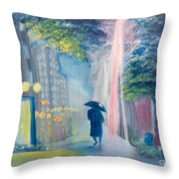 Throw Pillow featuring the painting Alone by Saundra Johnson