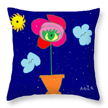 Throw Pillow featuring the painting Alone With God by Anita Dale Livaditis