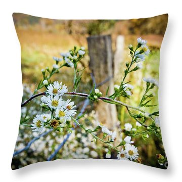 Throw Pillow featuring the photograph Along A Fence Row by Douglas Stucky
