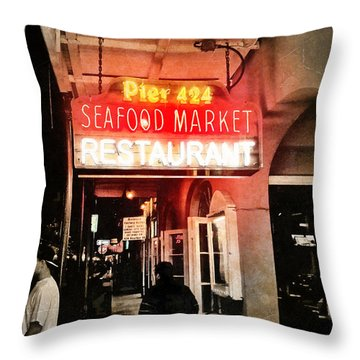 Throw Pillow featuring the photograph Along Bourbon Street - New Orleans by Glenn McCarthy Art and Photography