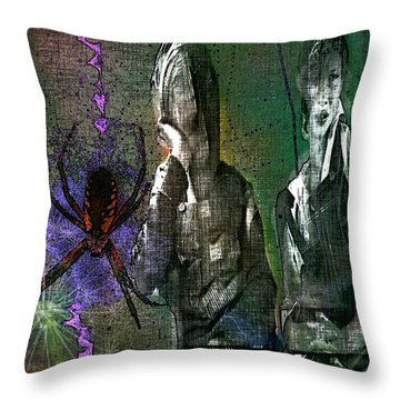 Throw Pillow featuring the digital art Along Came Another Spider by Delight Worthyn