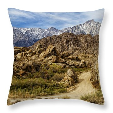 Along Movie Road Throw Pillow