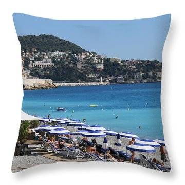 Along The Beach In Nice Looking Over Toward Monaco Throw Pillow by Rod Jellison