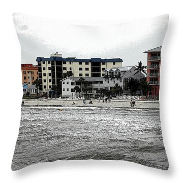 Along The Beach Throw Pillow by Kathleen Struckle