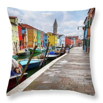 Along The Canal In Burano Island Throw Pillow