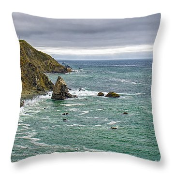 Along The Coast Highway Throw Pillow