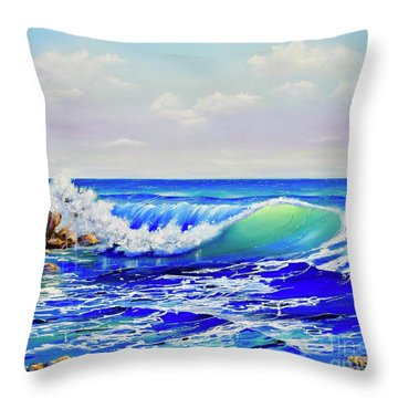 Throw Pillow featuring the painting Along The Coast by Mary Scott