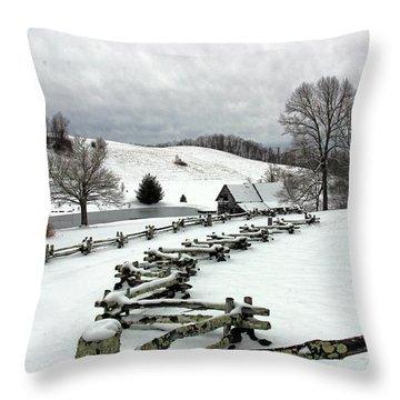 Along The Locust Rails In Winter Throw Pillow