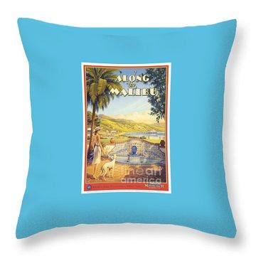Along The Malibu Throw Pillow by Nostalgic Prints