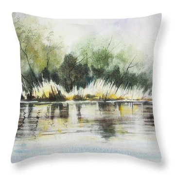 Along The River Banks Throw Pillow