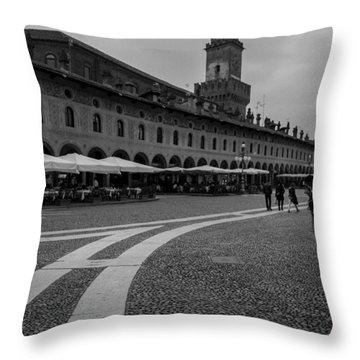 Along The Square  Throw Pillow by Cesare Bargiggia