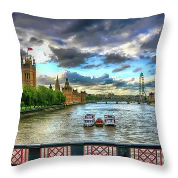 Along The Thames Throw Pillow