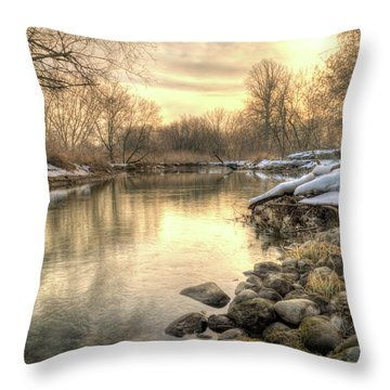 Along The Thames River Signed Throw Pillow