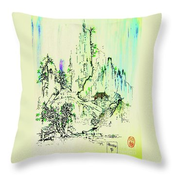 Throw Pillow featuring the painting Along The Tokaido Road by Roberto Prusso