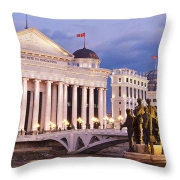 Along The Vardar River Throw Pillow by Rae Tucker