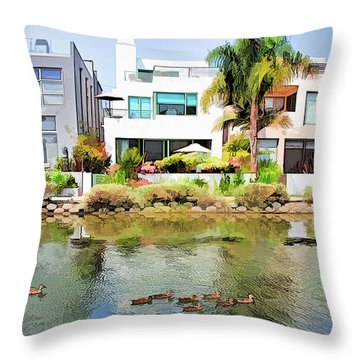 Throw Pillow featuring the photograph Along The Venice Canals by Chuck Staley