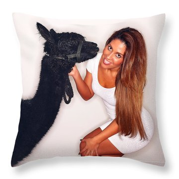 Alpaca Emily And Breanna Throw Pillow by TC Morgan