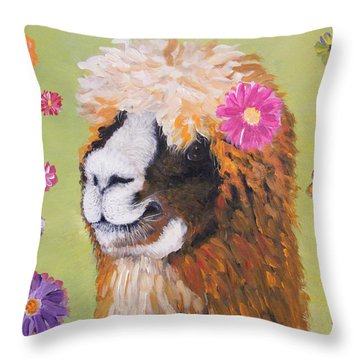 Alpaca Hippie Throw Pillow