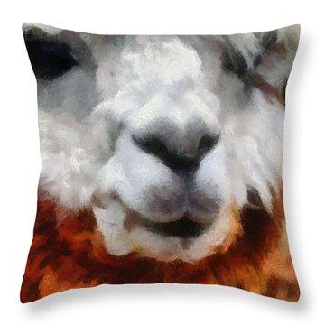 Alpaca Throw Pillow by Michelle Calkins