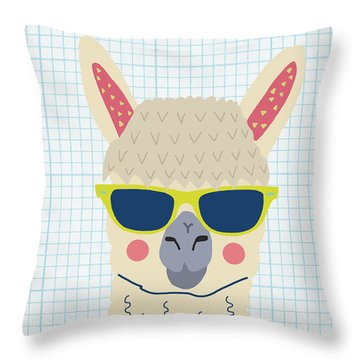 Alpaca Throw Pillow by Nicole Wilson