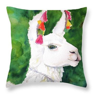 Alpaca With Attitude Throw Pillow