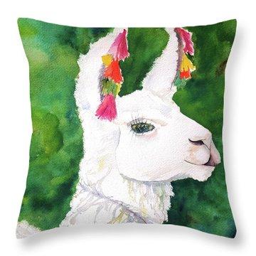 Alpaca With Attitude Throw Pillow