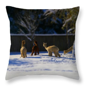 Alpacas In The Snow Throw Pillow
