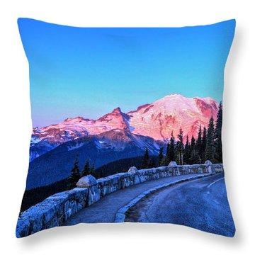Alpenglow At Mt. Rainier Throw Pillow