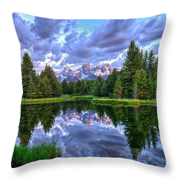 Alpenglow In The Tetons Throw Pillow